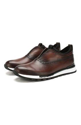 Мужские кожаные кроссовки BERLUTI темно-коричневого цвета, арт. S5081-001 | Фото 1 (Материал внутренний: Натуральная кожа; Подошва: Массивная; Стили: Классический)