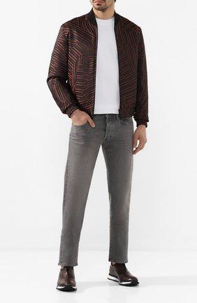 Мужские кожаные кроссовки BERLUTI темно-коричневого цвета, арт. S5081-001 | Фото 2 (Материал внутренний: Натуральная кожа; Подошва: Массивная; Стили: Классический)