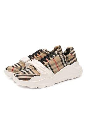 Мужские текстильные кроссовки BURBERRY бежевого цвета, арт. 8020282 | Фото 1