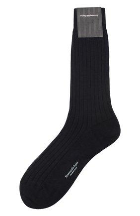 Мужские носки из смеси хлопка и кашемира ERMENEGILDO ZEGNA темно-синего цвета, арт. N5V402770 | Фото 1