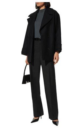 Женские шерстяные брюки BOTTEGA VENETA серого цвета, арт. 599728/VKIU0 | Фото 2 (Статус проверки: Проверена категория; Женское Кросс-КТ: Брюки-одежда; Материал внешний: Шерсть; Случай: Формальный; Силуэт Ж (брюки и джинсы): Прямые)