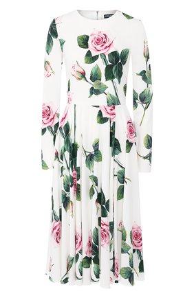 Женское платье с принтом DOLCE & GABBANA белого цвета, арт. F6H0IT/FSRMB | Фото 1