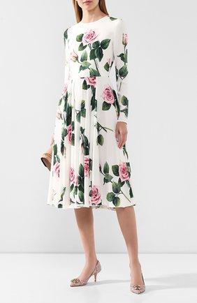 Женское платье с принтом DOLCE & GABBANA белого цвета, арт. F6H0IT/FSRMB | Фото 2