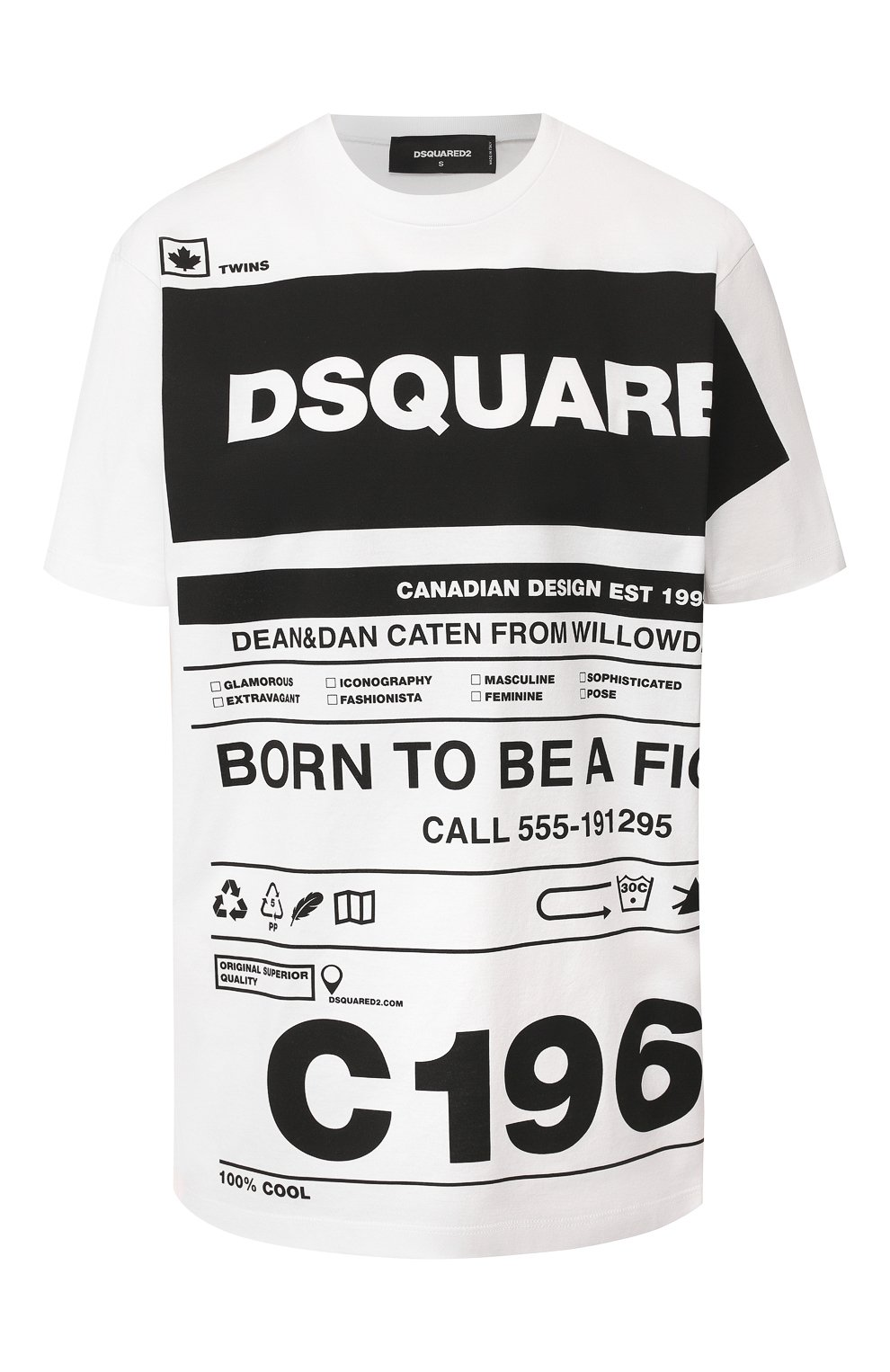 Женская хлопковая футболка DSQUARED2 белого цвета, арт. S75GD0072/S22427   Фото 1