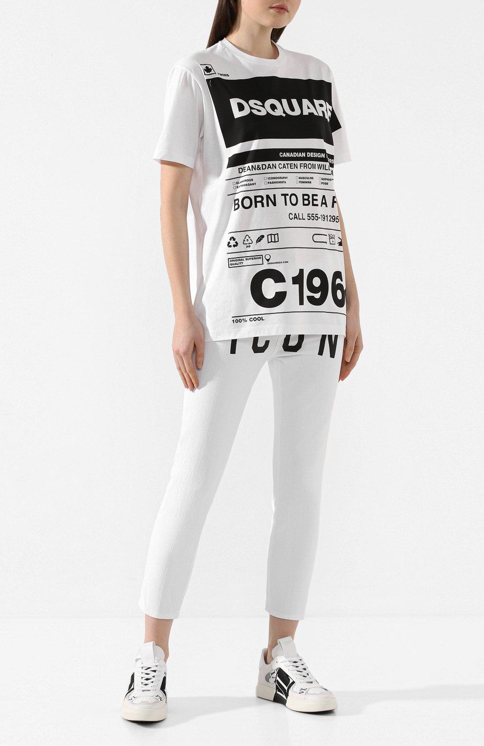 Женская хлопковая футболка DSQUARED2 белого цвета, арт. S75GD0072/S22427   Фото 2