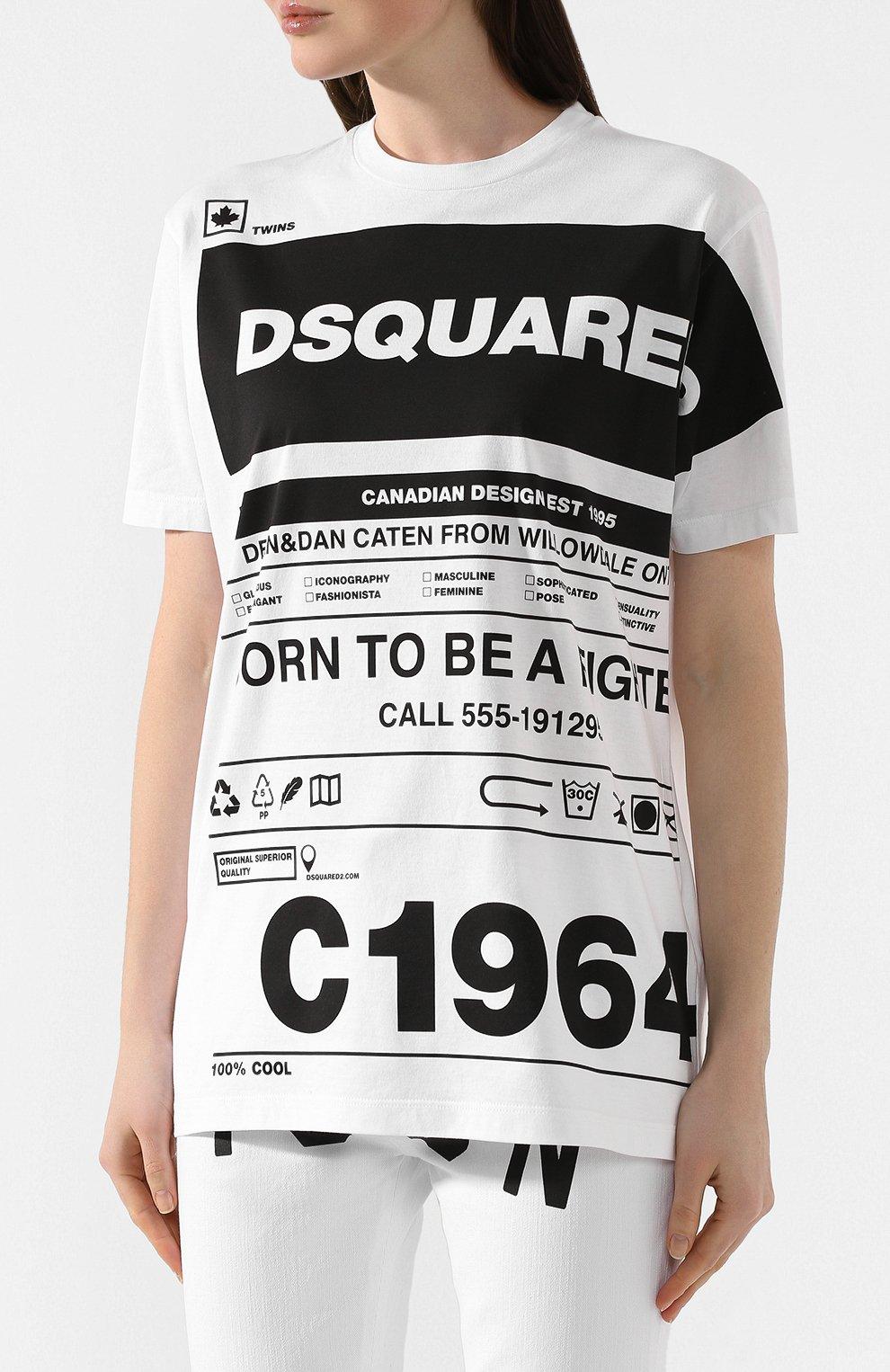 Женская хлопковая футболка DSQUARED2 белого цвета, арт. S75GD0072/S22427   Фото 3