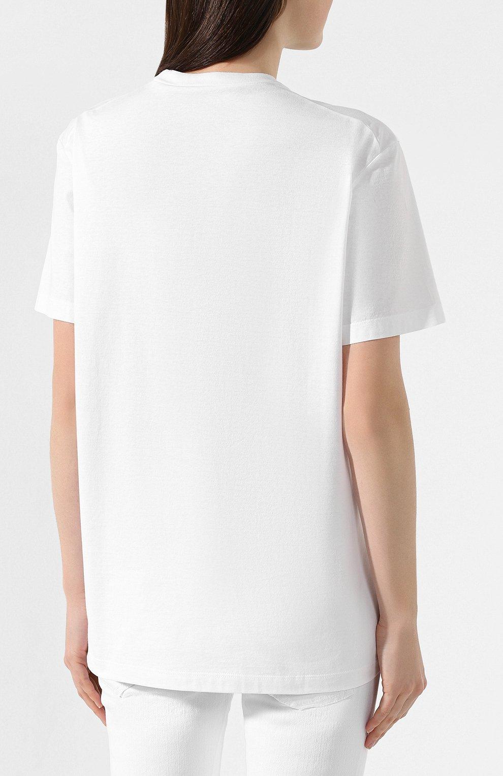 Женская хлопковая футболка DSQUARED2 белого цвета, арт. S75GD0072/S22427   Фото 4