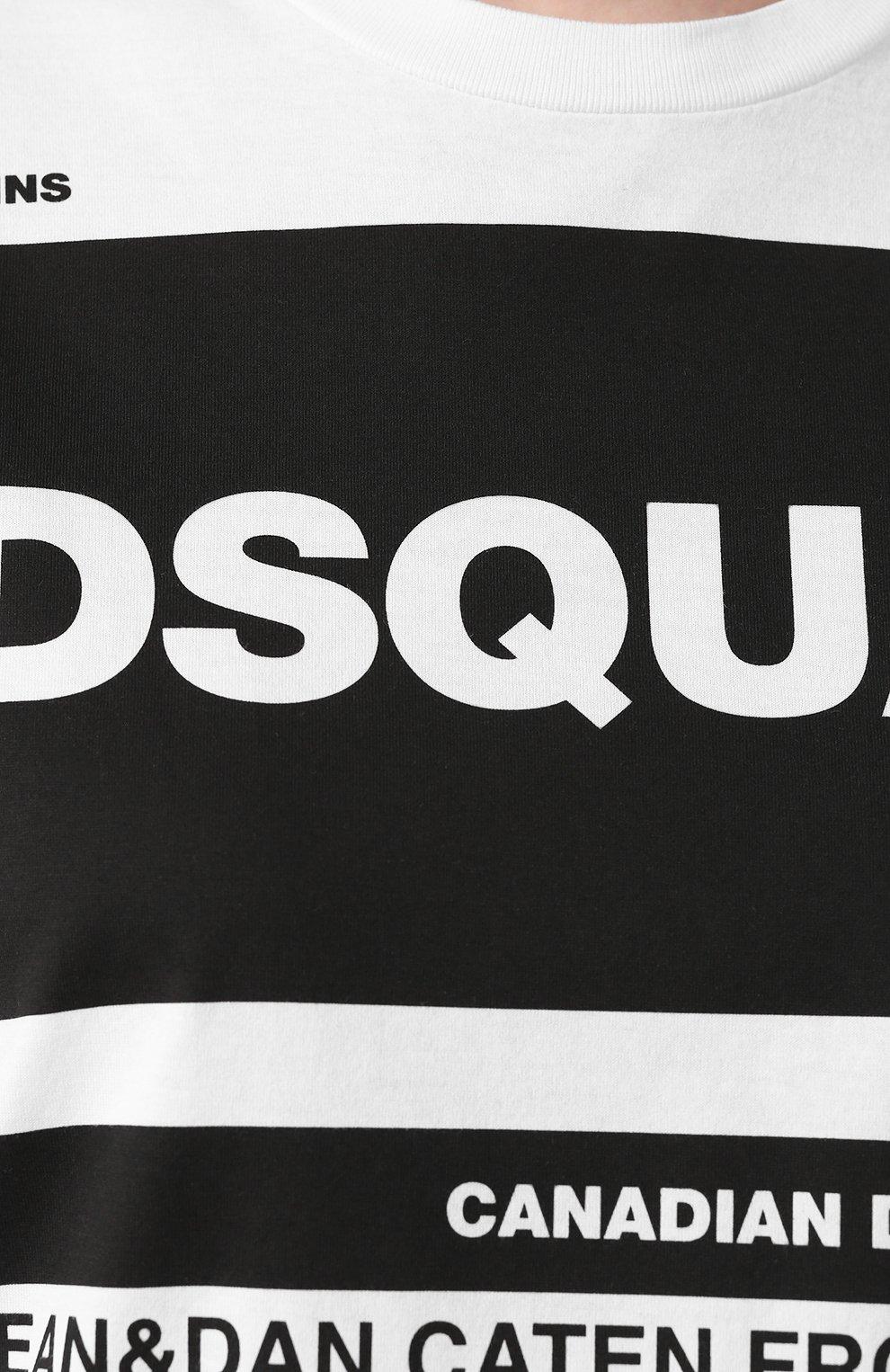 Женская хлопковая футболка DSQUARED2 белого цвета, арт. S75GD0072/S22427   Фото 5