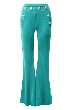 Женские брюки из вискозы BALMAIN бирюзового цвета, арт. TF15236/K043 | Фото 1