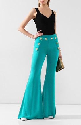 Женские брюки из вискозы BALMAIN бирюзового цвета, арт. TF15236/K043 | Фото 2