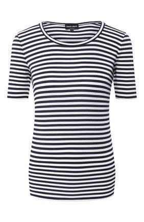 Женская футболка из вискозы GIORGIO ARMANI разноцветного цвета, арт. 3HAM74/AJHNZ | Фото 1 (Длина (для топов): Стандартные; Рукава: Короткие; Стили: Кэжуэл; Материал внешний: Вискоза; Принт: С принтом; Статус проверки: Проверена категория; Женское Кросс-КТ: Футболка-одежда)