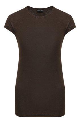 Женская льняная футболка TOM FORD хаки цвета, арт. TSJ295-FAX609 | Фото 1
