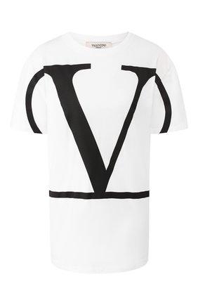 Женская хлопковая футболка VALENTINO белого цвета, арт. TB3MG04K55M | Фото 1
