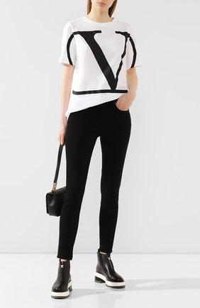 Женская хлопковая футболка VALENTINO белого цвета, арт. TB3MG04K55M | Фото 2