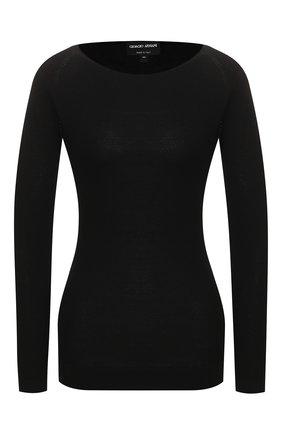 Женский пуловер GIORGIO ARMANI черного цвета, арт. 3HAMA1/AMA1Z | Фото 1 (Длина (для топов): Стандартные; Материал внешний: Синтетический материал, Вискоза; Рукава: Длинные; Женское Кросс-КТ: Пуловер-одежда; Статус проверки: Проверена категория)