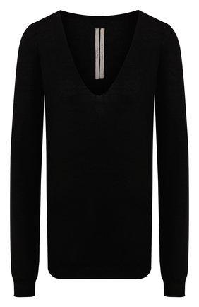 Женская кашемировый пуловер RICK OWENS черного цвета, арт. RP20S1623/WS   Фото 1