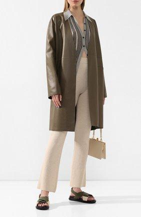 Женские брюки NANUSHKA кремвого цвета, арт. LEBA_CREME_CASHMERE BLEND RIB   Фото 2