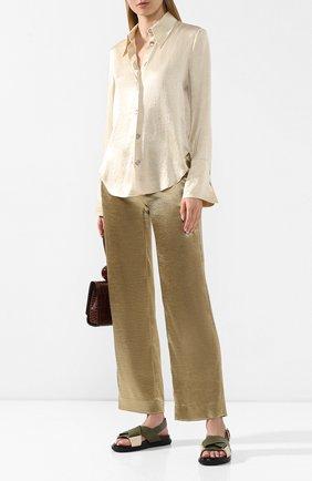 Женская блузка NANUSHKA бежевого цвета, арт. MANDINE_WAX YELL0W_WASHED SATIN   Фото 2