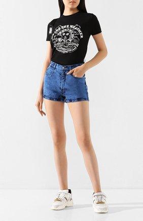 Женская хлопковая футболка STELLA MCCARTNEY черного цвета, арт. 600422/SNW62 | Фото 2