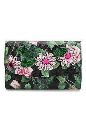 Женские кожаный кошелек на цепочке DOLCE & GABBANA черного цвета, арт. BI1275/AJ761 | Фото 1