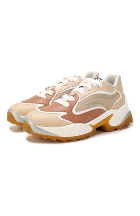 Женские кожаные кроссовки SERGIO ROSSI кремвого цвета, арт. A86730-MAFK95 | Фото 1