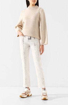 Женские кожаные кроссовки SERGIO ROSSI кремвого цвета, арт. A86730-MAFK95 | Фото 2