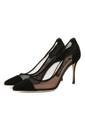 Женская текстильные туфли SERGIO ROSSI черного цвета, арт. A89580-MAFM46 | Фото 1