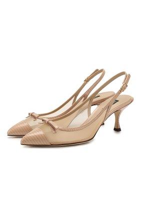 Женская комбинированные туфли lori DOLCE & GABBANA бежевого цвета, арт. CG0369/AX047 | Фото 1