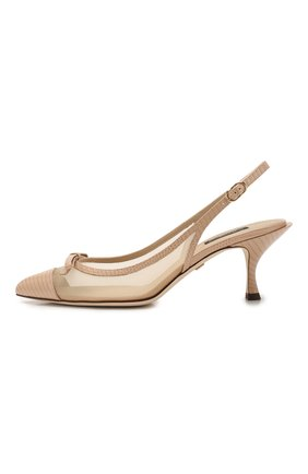 Женские комбинированные туфли lori DOLCE & GABBANA бежевого цвета, арт. CG0369/AX047 | Фото 3