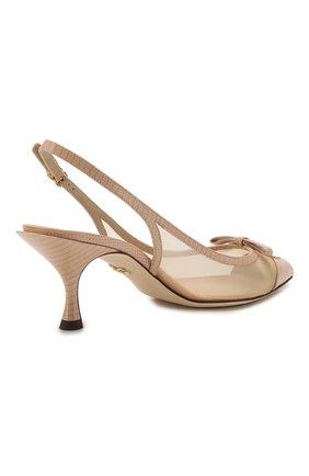 Женские комбинированные туфли lori DOLCE & GABBANA бежевого цвета, арт. CG0369/AX047 | Фото 4