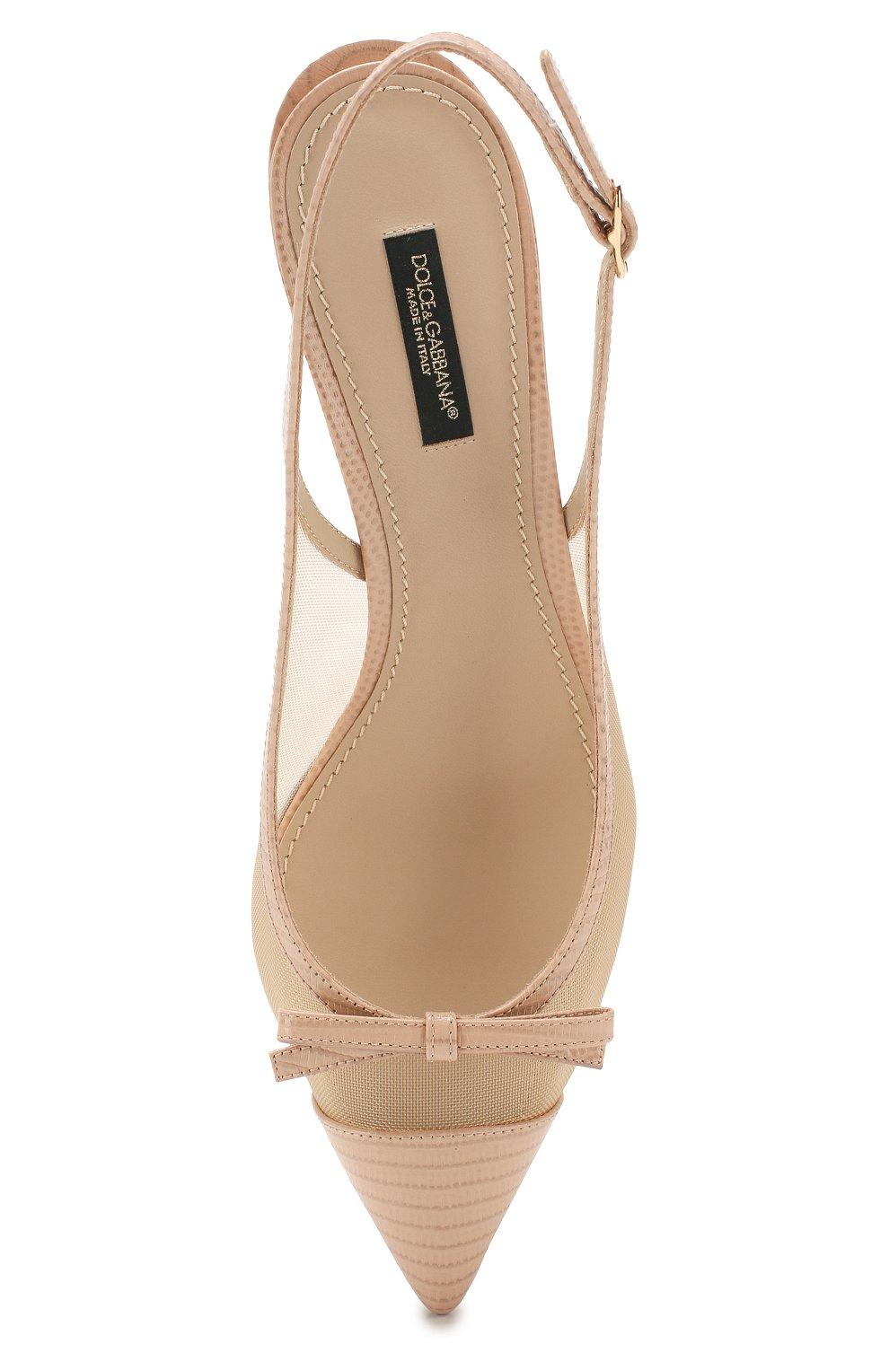 Женские комбинированные туфли lori DOLCE & GABBANA бежевого цвета, арт. CG0369/AX047 | Фото 5