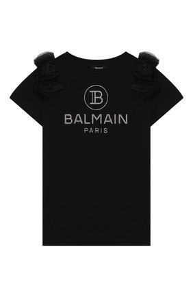 Детская хлопковая футболка BALMAIN черного цвета, арт. 6M8051/MA030/4-10 | Фото 1