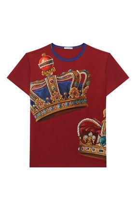 Детская хлопковая футболка DOLCE & GABBANA бордового цвета, арт. L4JT6S/G7VJR/8-14 | Фото 1
