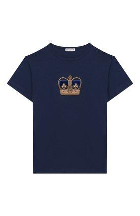 Детская хлопковая футболка DOLCE & GABBANA синего цвета, арт. L4JT6S/G7VJS/2-6 | Фото 1