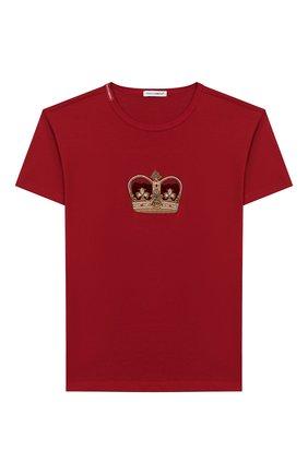 Детская хлопковая футболка DOLCE & GABBANA красного цвета, арт. L4JT6S/G7VJS/8-14 | Фото 1