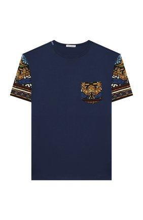Детская хлопковая футболка DOLCE & GABBANA темно-синего цвета, арт. L4JTBF/G7VYA/2-6 | Фото 1