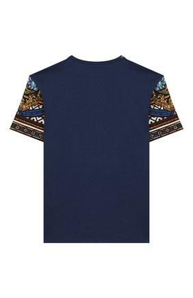 Детская хлопковая футболка DOLCE & GABBANA темно-синего цвета, арт. L4JTBF/G7VYA/2-6 | Фото 2
