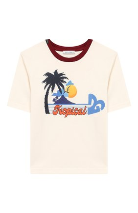 Детская хлопковая футболка DOLCE & GABBANA белого цвета, арт. L5JTAZ/G7WBF/8-14 | Фото 1
