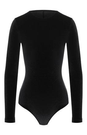 Женское бархатное боди MAISON LEJABY  черного цвета, арт. 19777 | Фото 1