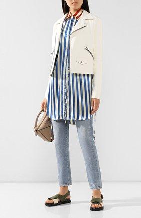 Женская кожаная куртка LOEWE белого цвета, арт. S1108000CL | Фото 2