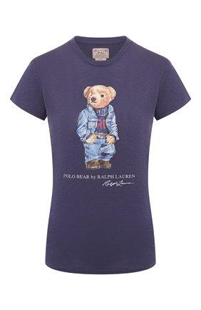 Женская хлопковая футболка POLO RALPH LAUREN синего цвета, арт. 211785567 | Фото 1