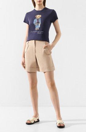 Женская хлопковая футболка POLO RALPH LAUREN синего цвета, арт. 211785567 | Фото 2