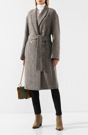 Женское пальто с поясом VINCE серого цвета, арт. V631991234 | Фото 2