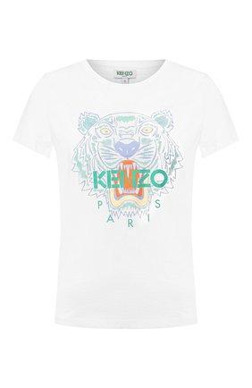 Женская хлопковая футболка KENZO белого цвета, арт. FA52TS7214YB | Фото 1