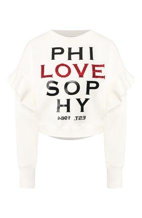 Женская хлопковый свитшот PHILOSOPHY DI LORENZO SERAFINI белого цвета, арт. A1705/747 | Фото 1