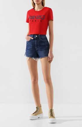 Женские джинсовые шорты 3X1 синего цвета, арт. WSXSB0866/KENZIE | Фото 2