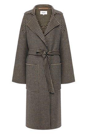Женское пальто из смеси шерсти и шелка NANUSHKA коричневого цвета, арт. ALAM0_H0UNDST00TH_D0UBLE SILK W00L BLEND   Фото 1