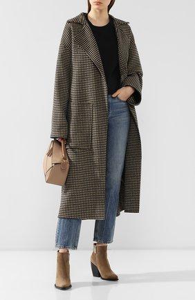 Женское пальто из смеси шерсти и шелка NANUSHKA коричневого цвета, арт. ALAM0_H0UNDST00TH_D0UBLE SILK W00L BLEND   Фото 2