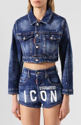 Женская джинсовая куртка DSQUARED2 синего цвета, арт. S80AM0003/S30663 | Фото 3