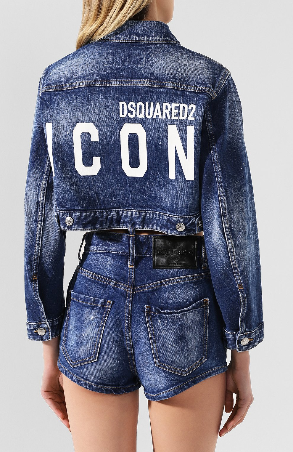 Женская джинсовая куртка DSQUARED2 синего цвета, арт. S80AM0003/S30663 | Фото 4